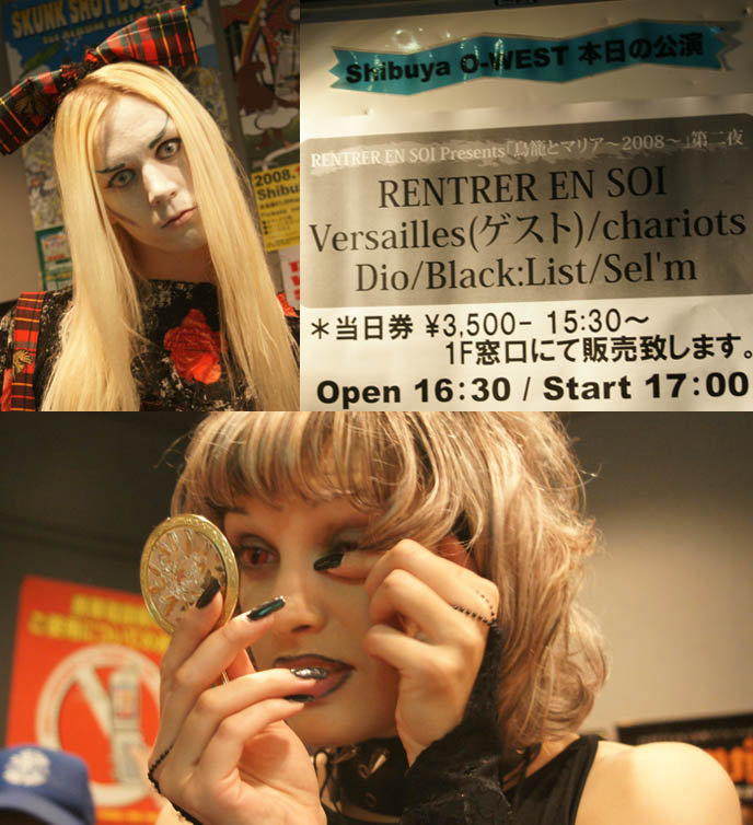 Versailles Philharmonic Quintet, Rentrer en Soi, Black List playing at Shibuya-o-west concert venue. Visual kei bands concert poster and fans, Gothic Lolita and scary goth kids.