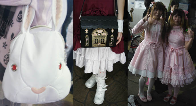 Sweet Lolitas in pink dresses, white rabbit cute purse, Gothic Lolita velvet dress and ankle boots. Weird Harajuku Japanese fashion, little bo peep frilly girly children's clothing.