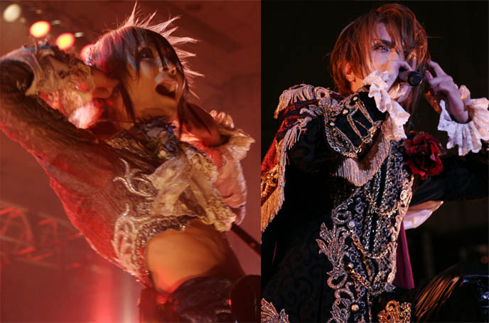 Kamijo vocalist of Versailles, visual kei rock band in Japan. Teru, guitar player, performing a concert. Androgynous Japanese musician, wild aristocratic Rococo stage costumes.