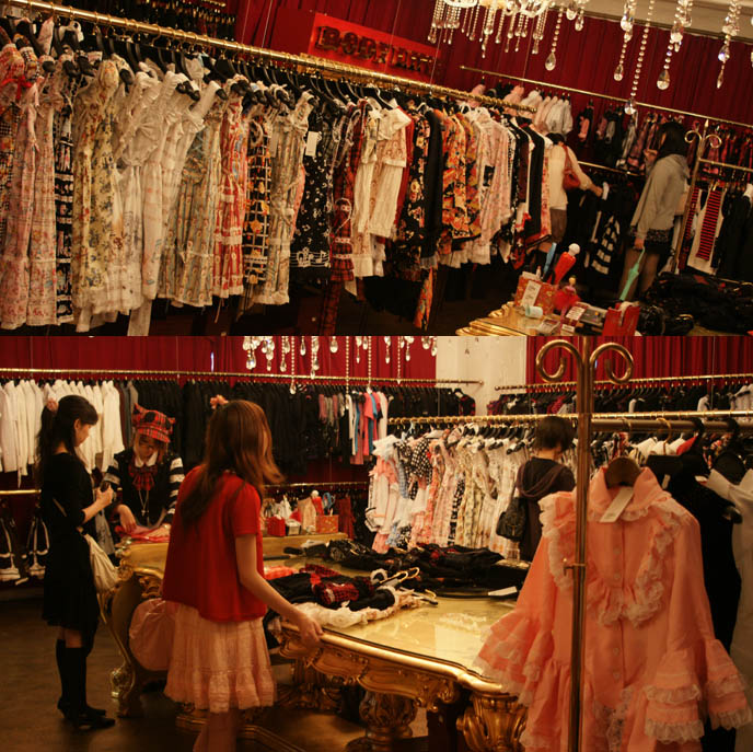 Bodyline Harajuku store, sweet and gothic lolita shopping in Tokyo, Japan. Cheaper, inexpensive Lolita fashion dresses, blouses, purses and accessories.