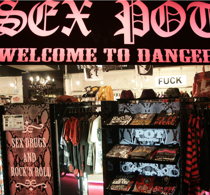 Sex Pot Revenge, welcome to danger punk rock Sex Pistols sign. Striped shirt, anarchy. Famous punk fashion store. Shopping for Lolita fashion in Tokyo, Japan.