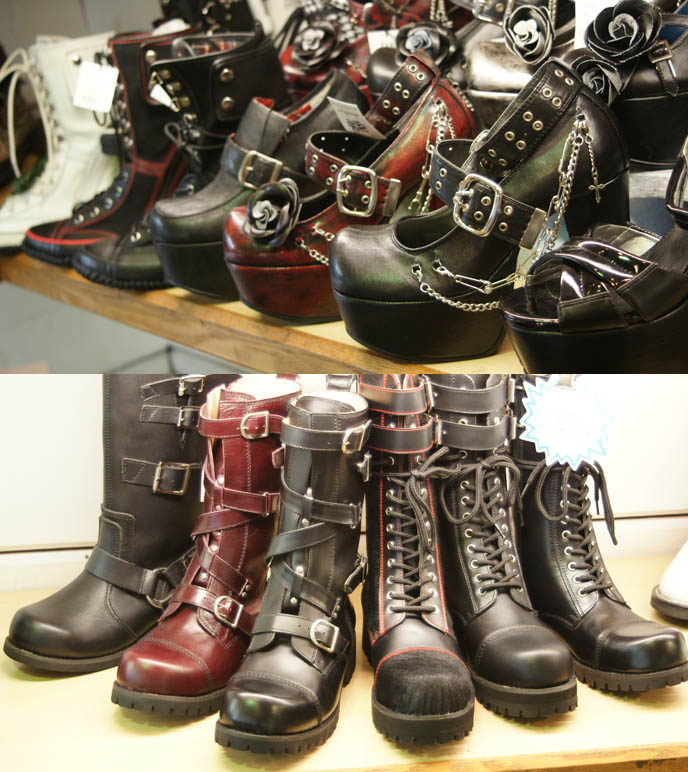 Doc Martens and stompers, black leather lace up Goth Punk boots in Harajuku, Tokyo Japan. Wild buckle fetish foots, knee high with chains and lacing.