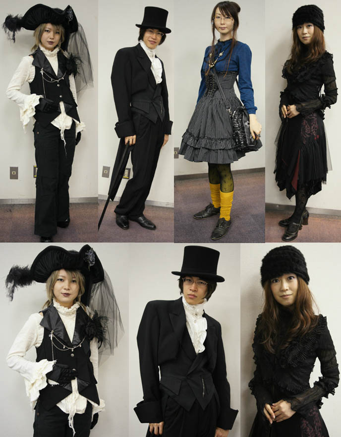 Misshapes club kid photos, Japanese photobooth portraits. Goth pirate costume with giant veiled hat and vest, dandy Victorian aristocrat fashion. Alamode Market, Gothic Lolita shopping and small designer boutiques, presented by D's Valentine in Tokyo Japan.