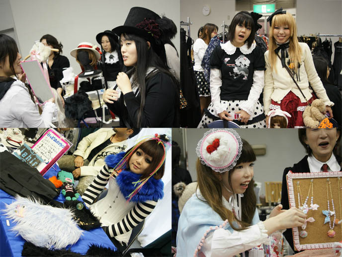 Gothic and Sweet lolita girls, cute hats and rave outfits. Neo-Victorian cyber clothing. Alamode Market, Gothic Lolita shopping and small designer boutiques, presented by D's Valentine in Tokyo Japan.