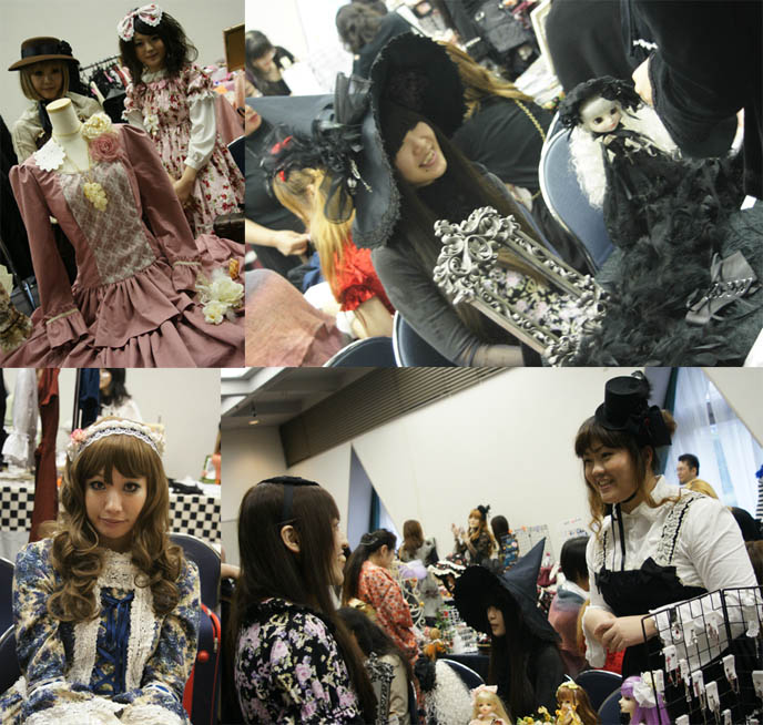 Victorian costumes on Harajuku girls. Witch hat, giant bows on head, dolls Alamode Market, Gothic Lolita shopping and small designer boutiques, presented by D's Valentine in Tokyo Japan.