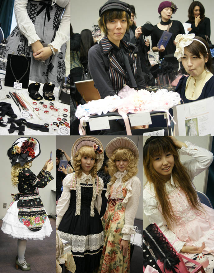 Kikirara Shoten, big Victorian bonnets with fruits and flowers. Marie Antoinette curly hair, wigs. Alamode Market, Gothic Lolita shopping and small designer boutiques, presented by D's Valentine in Tokyo Japan.