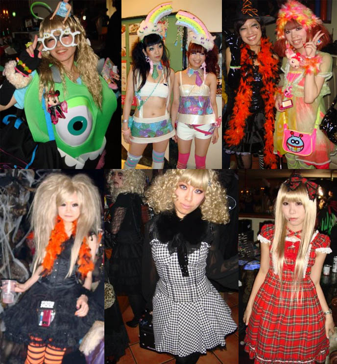 Tokyo Decadance Halloween party club kid costumes. Japanese Lolitas in nightclub, Christon Cafe in Shinjuku. Cyber new rave and fetish party.