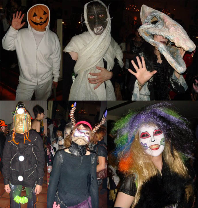 Scary Japanese masks, Halloween costumes at Tokyo Decadance. Pumpkin mask, monster special effects makeup, clown and buddha disguises, masks.
