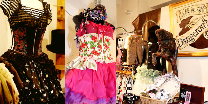 Dangerous Nude Fruits Japan fashion, cybergoth street style. Rave clothing from Tokyo, wild colorful neon hats in store.