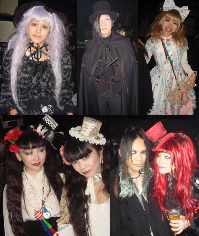 Japanese goth girls at party, cute Gothic Lolita hats and Victorian dresses. Alamode Night club event, featuring Pudding Alamode, D's Valentine, Dj Chihiro, at StudioCute326 in Tamachi, Tokyo, Japan.