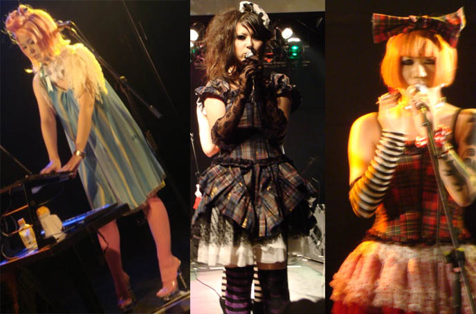 Cute Japanese girl singers, Noro and gothic lolita performers. Alamode Night, featuring Pudding Alamode, D's Valentine, Dj Chihiro, at StudioCute326 in Tamachi, Tokyo, Japan.
