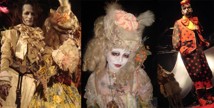 Rococo wigs, scary Victorian costumes and stage outfits. Dark Marchen show: Rose de Refucil and Guiggles neo-Victorian spooky theater performance. Alamode Night, featuring Pudding Alamode, D's Valentine, Dj Chihiro, at StudioCute326 in Tamachi, Tokyo, Japan.