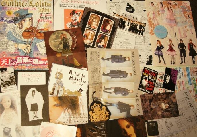Gothic Lolita Japanese designer flyers. Gosurori Bible, Miho Matsuda, Alamode Market advertisements, Alice and the Pirates logo.