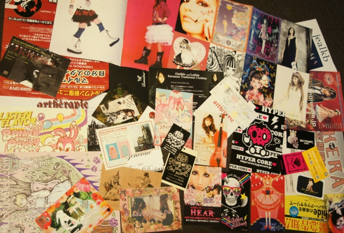 Marui Fashion Expo flyers and posters. Artherapie, Listen Flavor, Tokyo Alice, Kera, Sexy Dynamite London, Hypercore and other lolita punk goth brands in Tokyo.
